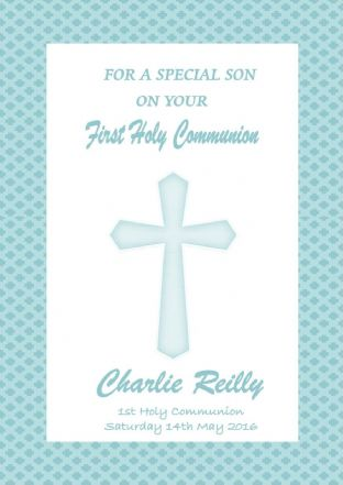 Personalised Communion Card Blue Cross 1